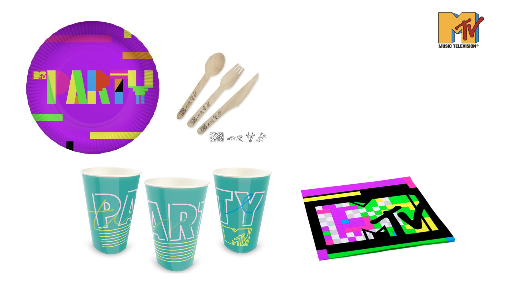 platos cubiertos vasos servilletas MTV